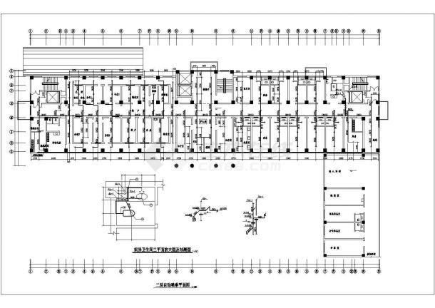 济南市某甲级医院12层框架结构门诊楼给排水CAD设计图纸-图二