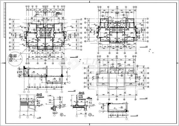 610平米三层砖混结构独栋豪华别墅全套建筑设计CAD图纸(含车库层)-图二