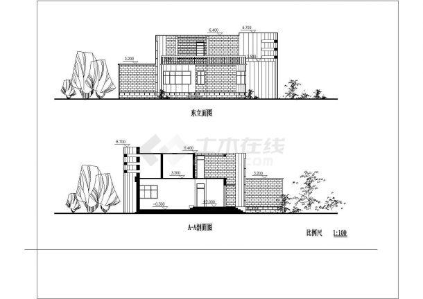 湖州市某别墅区2层框架结构独栋别墅建筑设计CAD图纸(2套方案)-图一