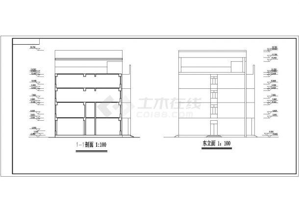 装修深圳市某某四层综合办公楼CAD结构设计施工图纸-图一