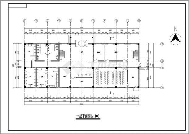 装修深圳市某某四层综合办公楼CAD结构设计施工图纸-图二