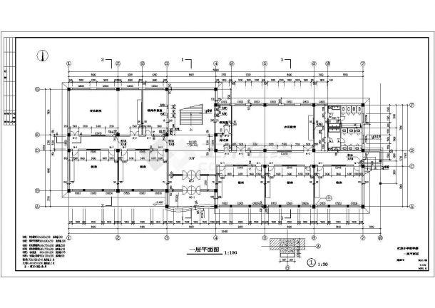 吉木萨尔县某小学四层全框架结构教学楼建筑工程设计cad图(含建筑设计说明,门窗表)-图一