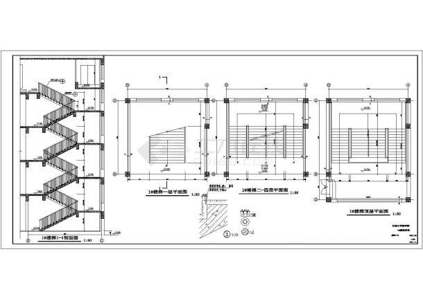 吉木萨尔县某小学四层全框架结构教学楼建筑工程设计cad图(含建筑设计说明,门窗表)-图二