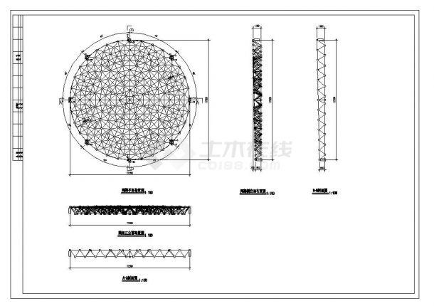 某多层带网架顶钢结构会所设计图CAD参考详图-图二