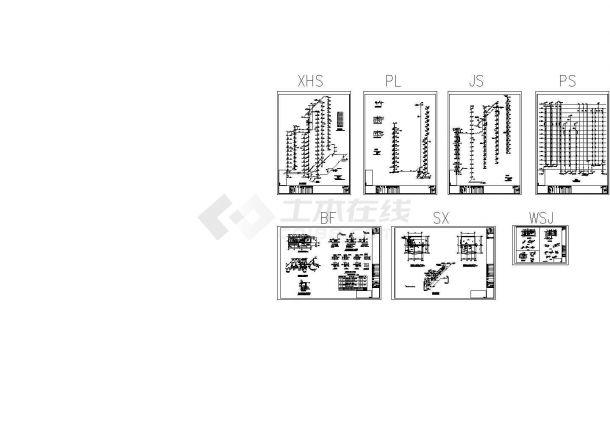 高层办公楼给排水设计cad图纸,含施工说明-图二