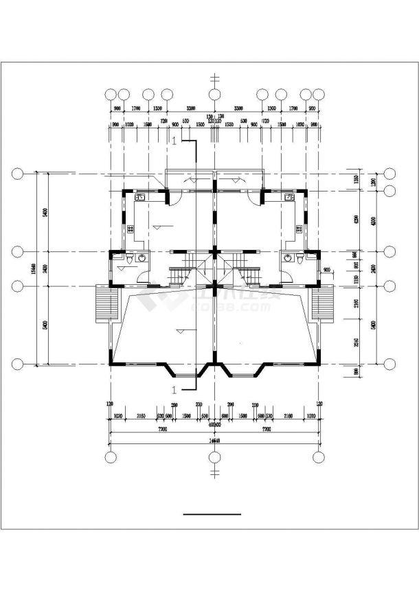 张家口市新苑小区3层框架结构联体别墅建筑设计CAD图纸(1楼2户)-图一