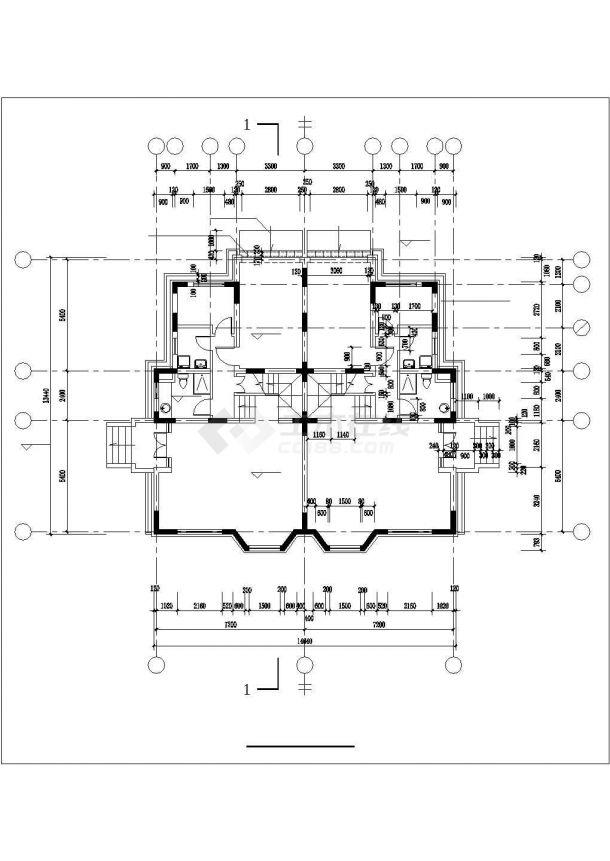 张家口市新苑小区3层框架结构联体别墅建筑设计CAD图纸(1楼2户)-图二