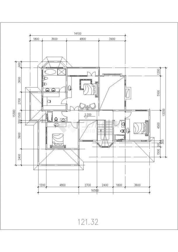 410平米双层框架结构单体别墅建筑设计CAD图纸(含地下层和效果图)-图二