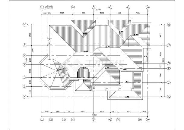 乌鲁木齐市某村镇580平米2层混合结构高档乡村别墅建筑设计CAD图纸-图一