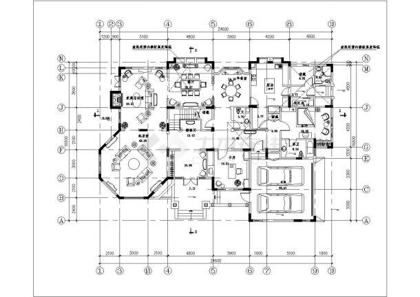 乌鲁木齐市某村镇580平米2层混合结构高档乡村别墅建筑设计CAD图纸-图二