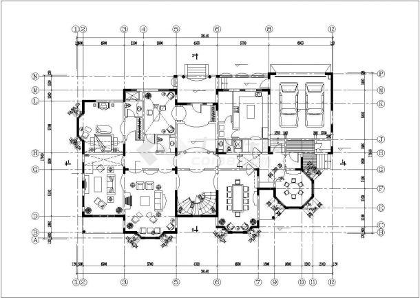690平米2层框混结构独栋高档别墅建筑设计CAD图纸(2套方案)-图二