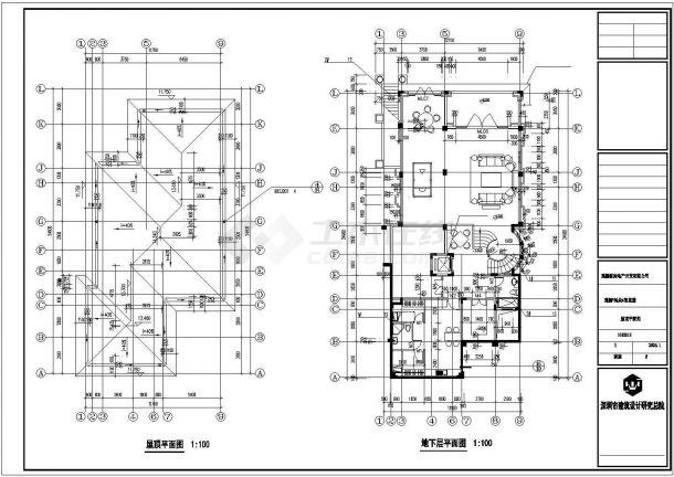 池州市某村镇810平3层框混结构独栋别墅建筑设计CAD图纸(含地下层)-图一