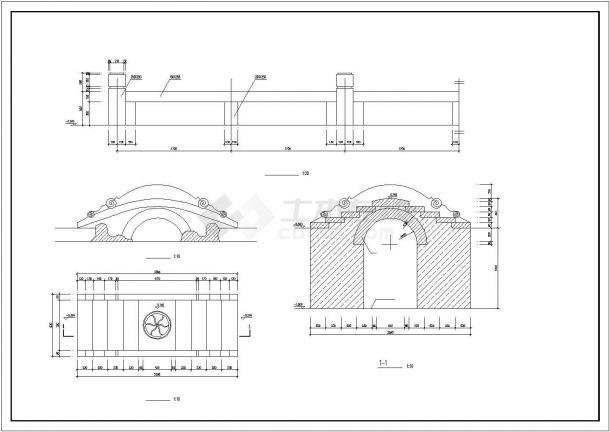 某常用景观桥园林建筑设计cad施工图-图一