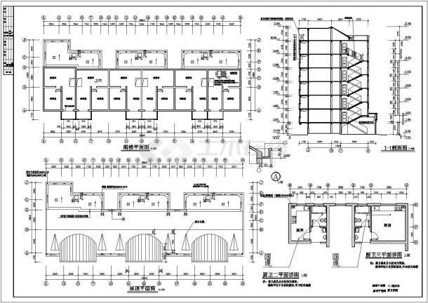 抚顺市某小区6层砖混住宅楼建筑设计CAD图纸(不含阁楼和半地下室)-图一