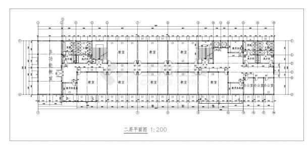 某中学教学楼施工方案设计cad图纸-图一