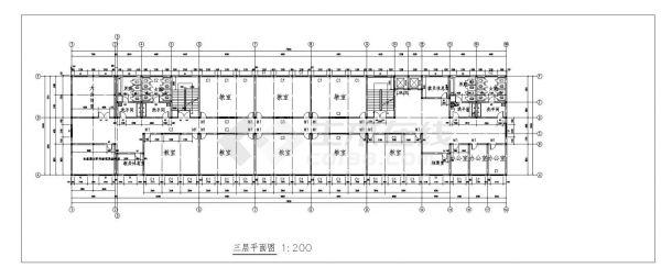 某中学教学楼施工方案设计cad图纸-图二