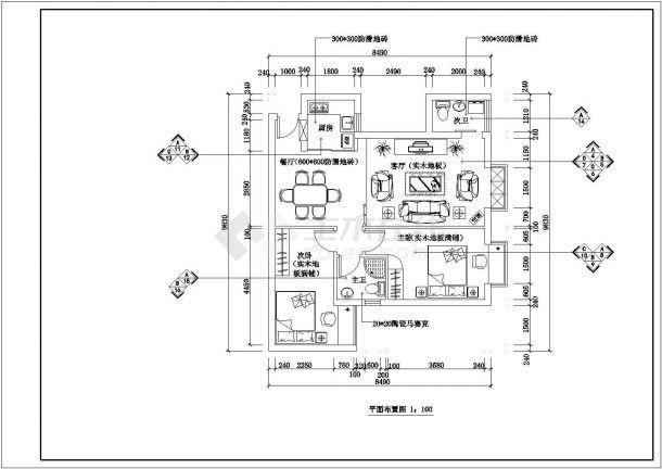 上海某新建小区110平米样板房全套装修施工设计CAD图纸-图二