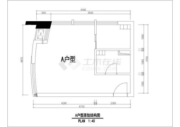 太原市某新建居住区100平米户型装修施工设计CAD图纸-图一