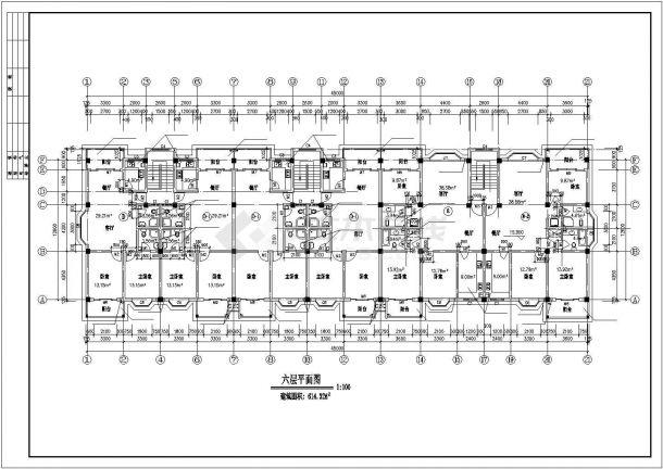 6+1层框架结构住宅楼建筑设计CAD图纸(带阁楼/不含架空层)-图二