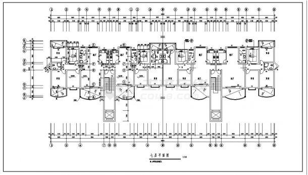 某七层砖混住宅楼结构设计施工cad图纸-图二