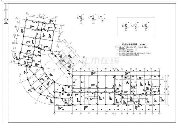 某城市商住楼房框架结构设计施工图CAD详图-图二