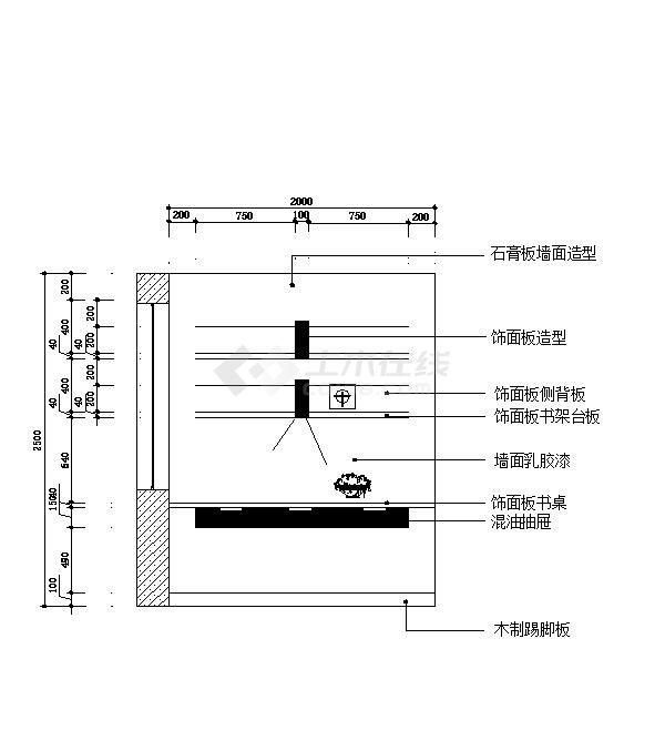 壁挂电视背板、石材地面拼花、书柜、玄关衣帽柜家装装修设计图纸-图二