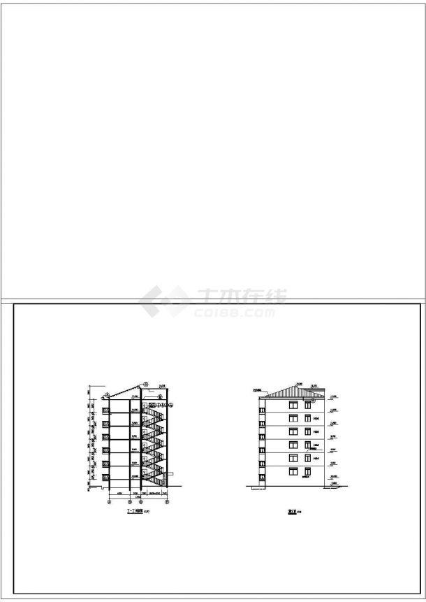 4200平米6层砖混结构住宅楼建筑设计CAD图纸(含车库和阁楼层)-图一