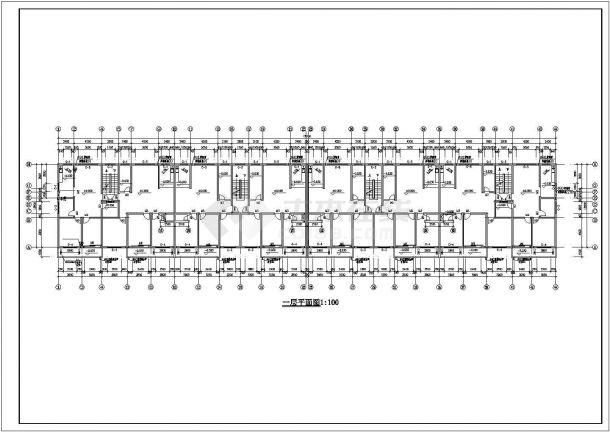 4200平米6层砖混结构住宅楼建筑设计CAD图纸(含车库和阁楼层)-图二