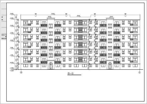 3200平米6+1层砖混结构住宅楼建筑设计CAD图纸(含半地下室层)-图二