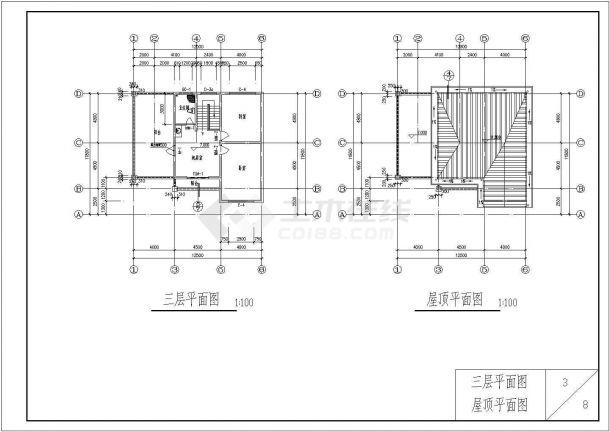 南京某郊区北美风格独栋别墅建筑施工全套设计图-图一