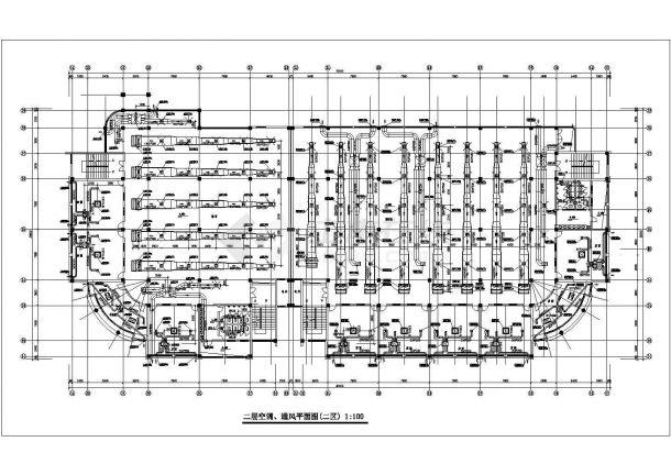 抚顺市某新建居住区内部配套公共建筑空调系统设计CAD图纸-图二