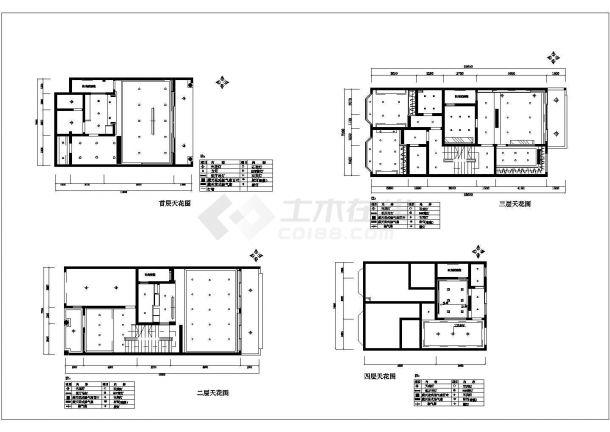 某地多层小栋别墅装修设计图纸-图二