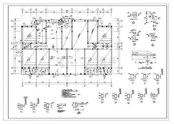 某单元住宅楼砖混建筑结构施工图CAD详图-图一