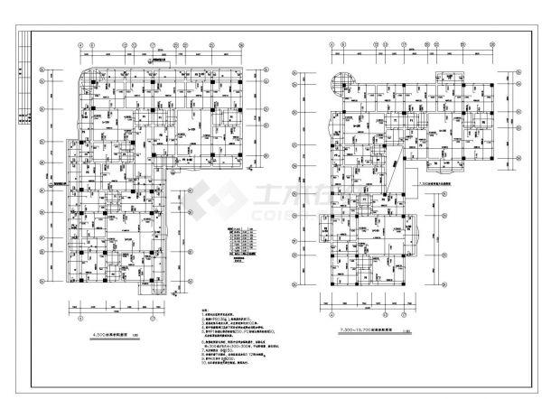某市商住楼框架结构施工图CAD详图-图二