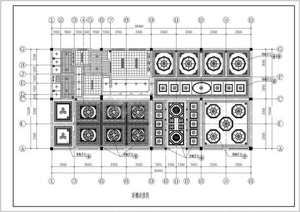 单层藏式咖啡厅装修施工设计图纸(平面 立面 顶棚造型图 天花板造型 大厅顶式造型)-图一