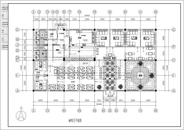 单层藏式咖啡厅装修施工设计图纸(平面 立面 顶棚造型图 天花板造型 大厅顶式造型)-图二