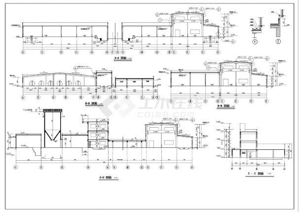 某市建筑工程混凝土主车间建筑结构施工图CAD详图-图二