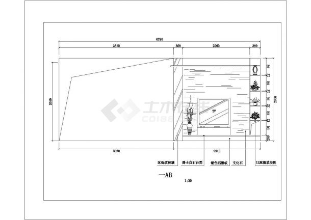 某地多层别墅天花装修结构设计图纸-图一