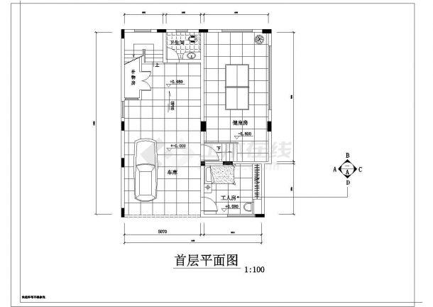 某地独立别墅装修结构设计图纸-图二