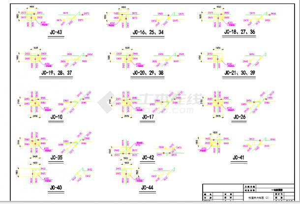 某地多层整套住宅小区采暖室外管网cad总平面施工图纸-图二