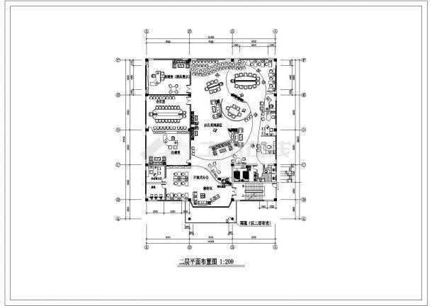 南京某大众4s店展示厅全套装修施工设计cad图(含天棚布置图)-图二