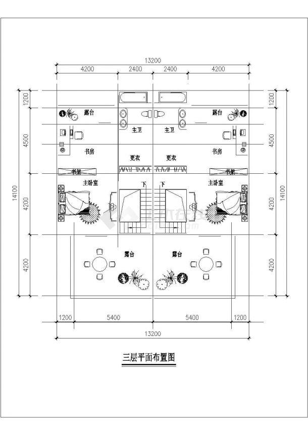 烟台市某村镇256平米3层混合结构单体别墅全套平面设计CAD图纸-图二