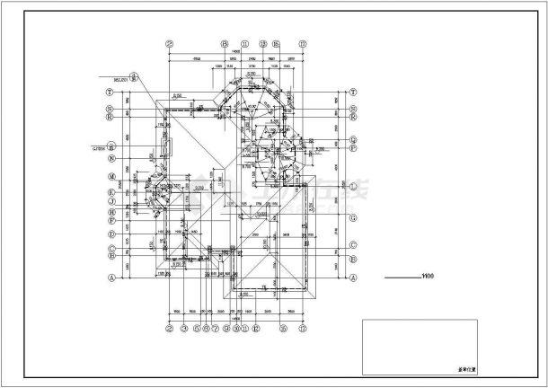 880平米双层混合结构独栋别墅平面设计CAD图纸(含地下层和结构图)-图一