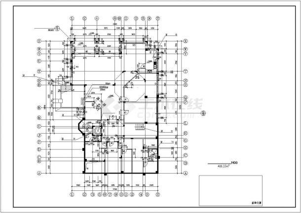 880平米双层混合结构独栋别墅平面设计CAD图纸(含地下层和结构图)-图二