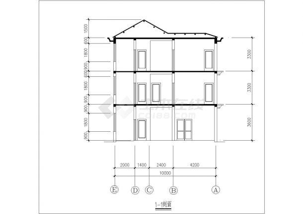 某农村大型住宅楼建筑设计图纸-图一