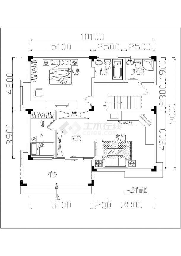 三亚市某度假区3层砖混结构单体别墅平面设计CAD图纸(含效果图)-图二