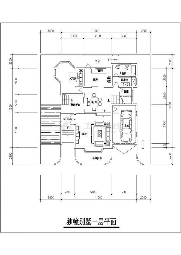 合肥市某别墅区320平米3层砖混结构单体别墅平面设计CAD图纸-图一