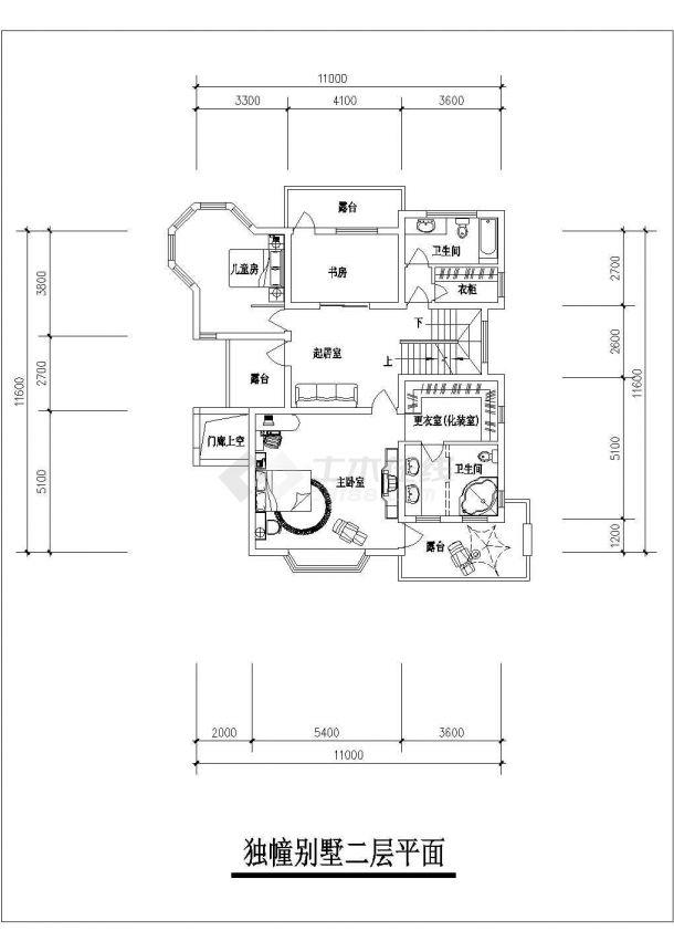 合肥市某别墅区320平米3层砖混结构单体别墅平面设计CAD图纸-图二