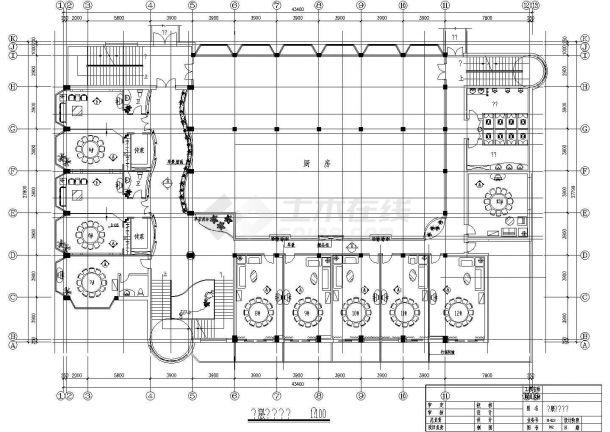 【杭州】某多层酒楼中餐厅平面装修设计cad图(含天花布置图)-图二
