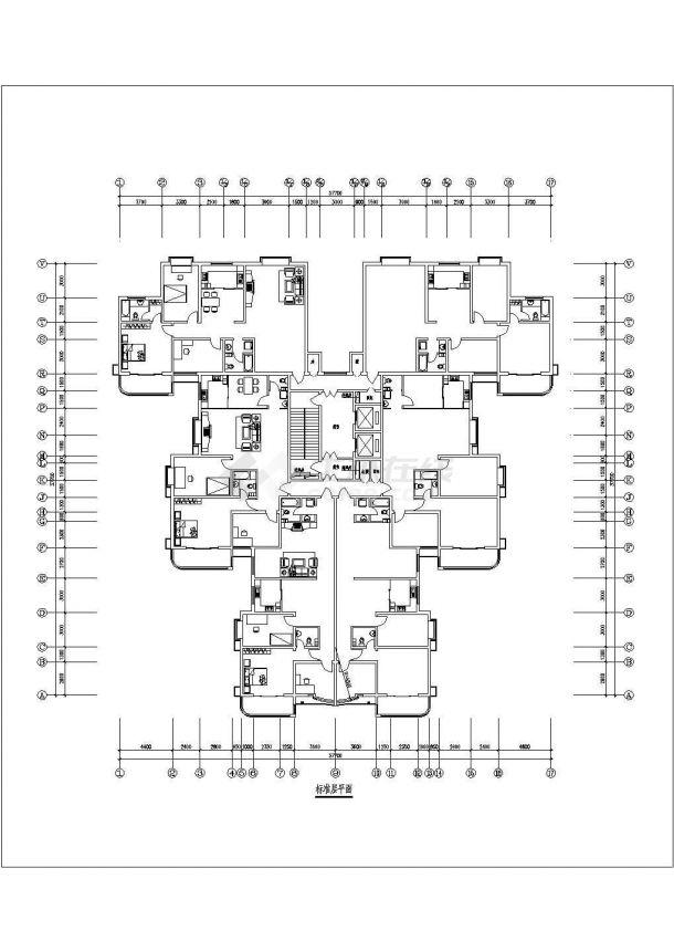 某地点式精美户型结构设计图纸-图二